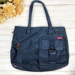 Vintage Esprit Nylon Shoulder Tote Bag Blue